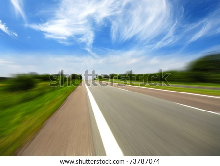 High speed road  with cloud background - stock photo