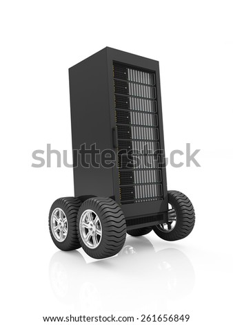High-speed Server Concept. Cloud Computing, Storage Information Concept. Modern Server Rack on Wheels isolated on white background - stock photo