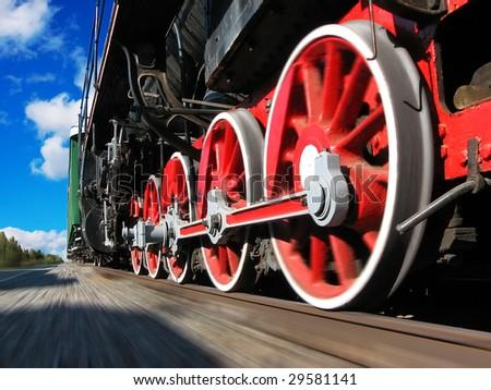 High speed steam locomotive - stock photo