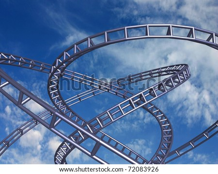 High speed track on blue sky, 3D render.