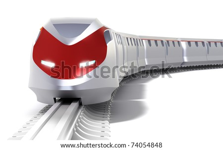 High speed train concept. Isolated on white - stock photo