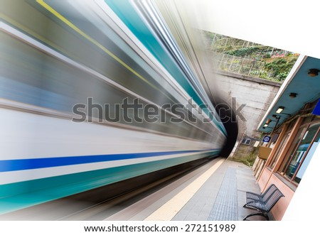 High speed train driving out from tunnel  - stock photo