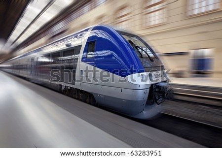 High-speed train in motion, France, Europe - stock photo