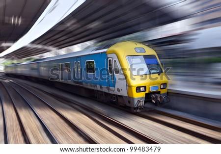 High-speed train in motion, Kuala Lumpur, Malaysia - stock photo