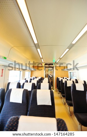 high speed train interior from guangzhou to shenzhen in china - stock photo