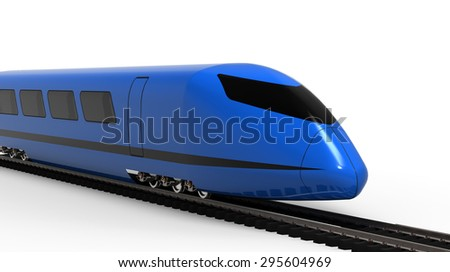 high-speed train on a white background - stock photo