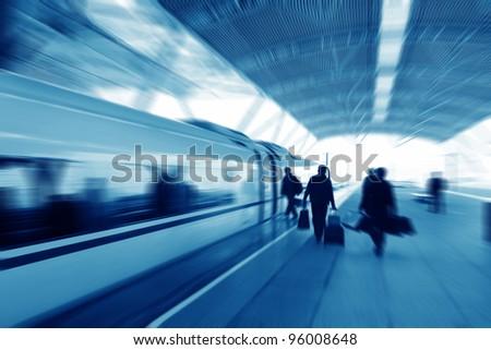 High speed train passengers are boarding - stock photo