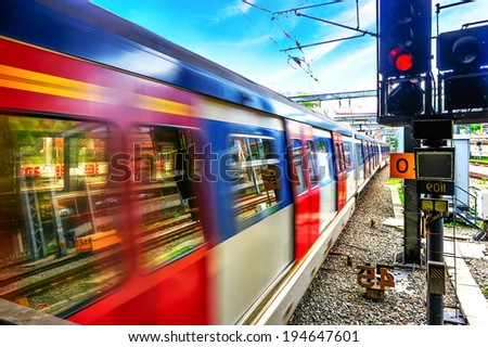 High-speed train runs - stock photo