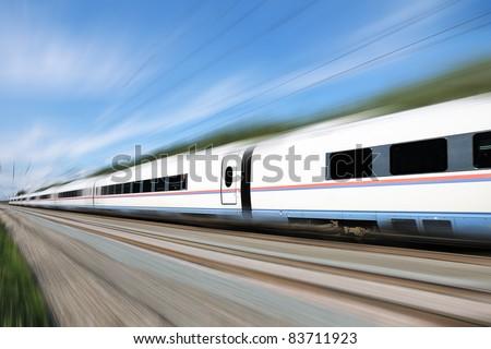 High-speed train Sapsan. Racing white bright, modern train. - stock photo