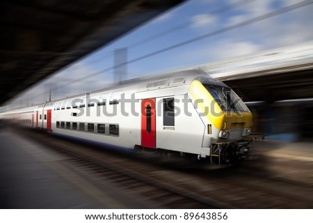High speed train with motion blur, Europe - stock photo