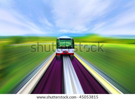 High-speed train with motion blur in the country - stock photo