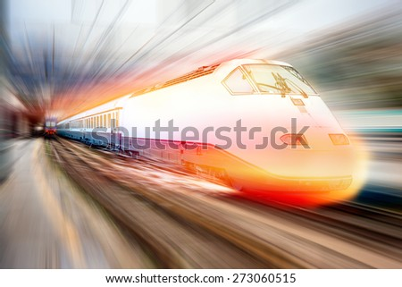 high speed train   (with spark) - stock photo