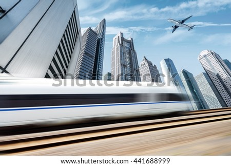 High-speed trains, aircraft and dynamic motion blur Shanghai skyline background
