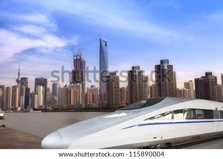 High speed trains in the Shanghai Lujiazui City background