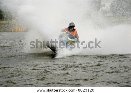 High-speed water jet-ski - stock photo