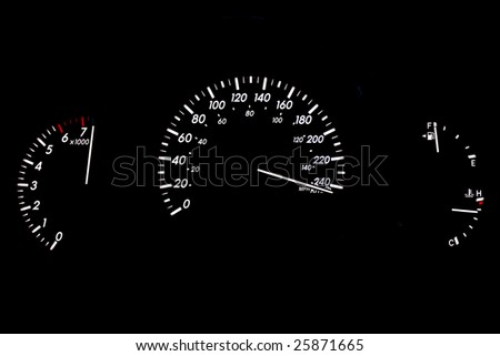 High Speeding Car Gauge Display Isolated on Black - stock photo