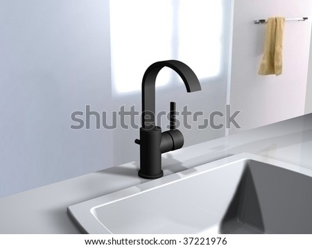high spout faucet - stock photo