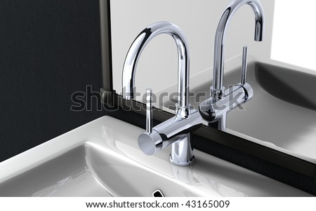 high spout faucet in front of a mirror - stock photo