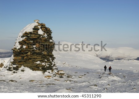 High Spy summit in winter in the English Lake District