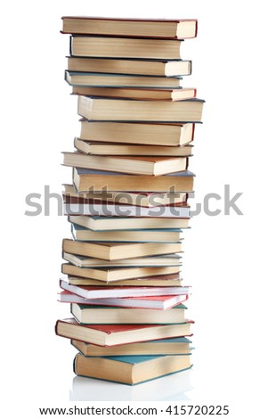 High stack of books, isolated on white - stock photo