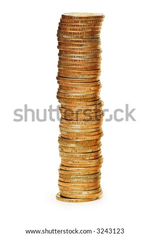 High stack of coins isolated  on white