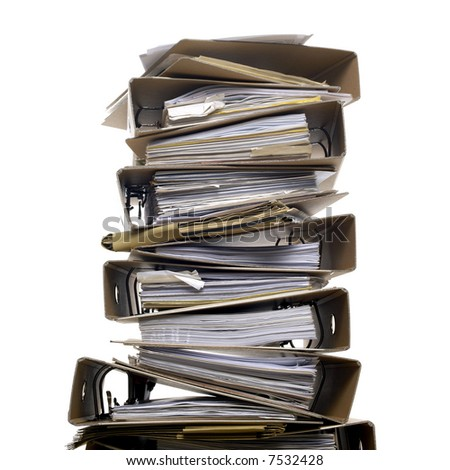 high stack of folder - stock photo