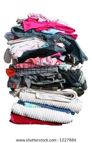 High stack of laundry isolated on white with clipping path - stock photo