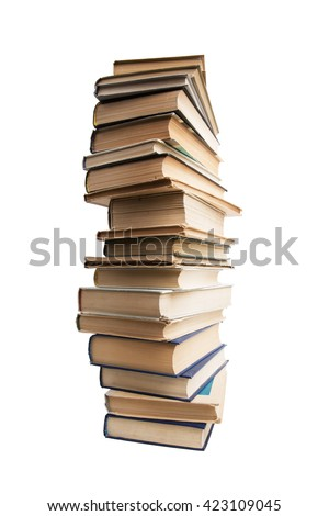 High stack of old books on a white background - stock photo
