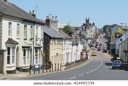 High Street in Honiton, Devon famous by antique shops - stock photo