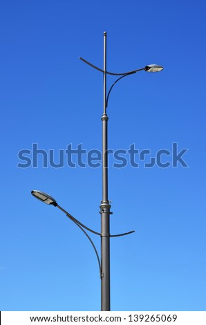 High street lamp with LEDs on the background of blue sky