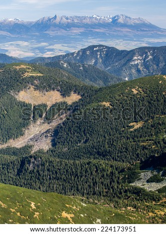High Tatras from hill Chopok at Low Tatras mountains, Slovakia