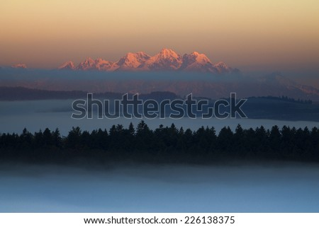 High Tatras morning mist - stock photo
