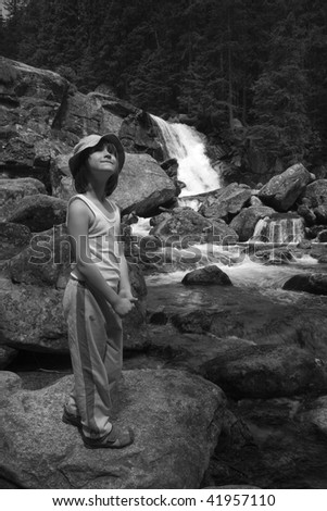 High Tatras - Studenovodske waterfalls and little girl