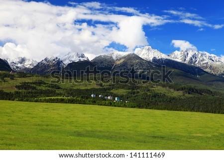 High Tatras with Tatranska Strba town - stock photo