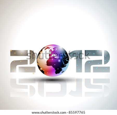 High tech and technology style 2012 happy new year celebration background for your posters, flyers and business presentations. - stock photo
