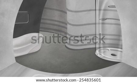 High tech bathroom. Digital background raster illustration. - stock photo