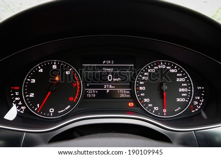 High tech car instrument LCD panel - stock photo