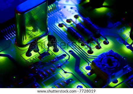 High-tech digital electronics, the cornerstone of today's society - stock photo