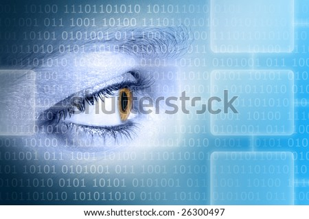 high tech eye - stock photo
