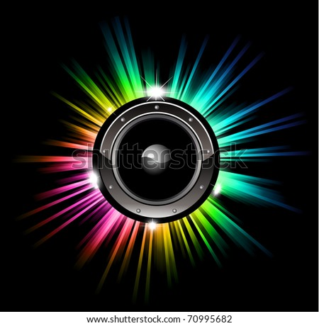High Tech Futuristic Music Disco Background with glowing Rainbow lights - stock photo