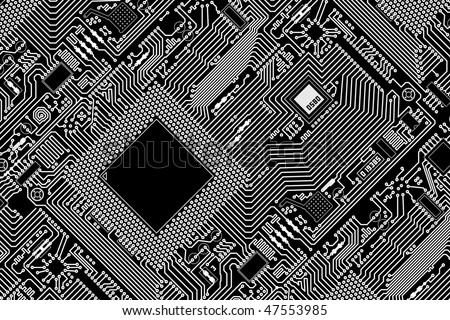 High tech graphic industrial circuit board black background