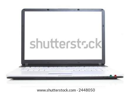 high tech laptop with blank screen on white, space for messages