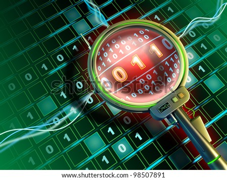 High-tech lens is scanning a stream of binary data. Digital illustration. - stock photo