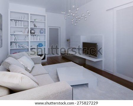 High-tech living room design. 3d render