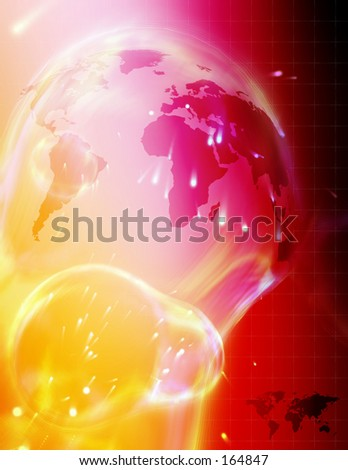 High tech render of the world. - stock photo