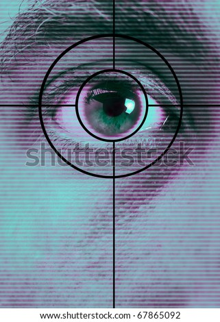 High-tech technology background with targeted eye scan - stock photo