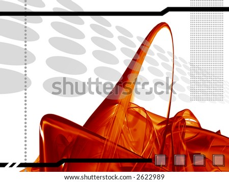 high-tech template with red abstract shapes, background,composition - stock photo