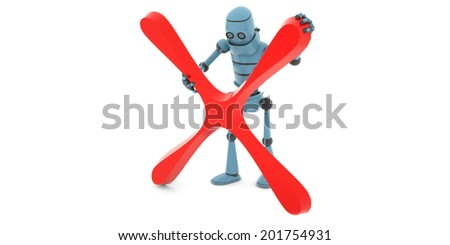 """High technologies, the robot holding a sign """"not accepted"""" , side view, 3d render - stock photo"""