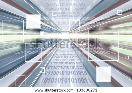 High technology background with transparent geometric shapes. Digital illustration. - stock photo