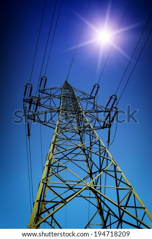 High tension line with Sun - stock photo